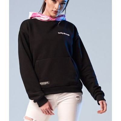 Bluza hoodie ride the wave back girl black pink