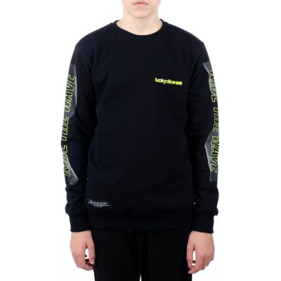 Bluza crewneck ride the wave one black neon